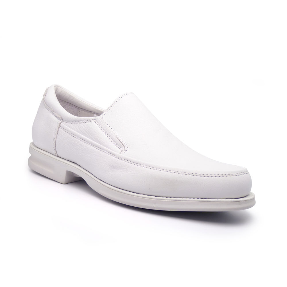 Sapato Branco Masculino Casual em Couro Floater MRN 906